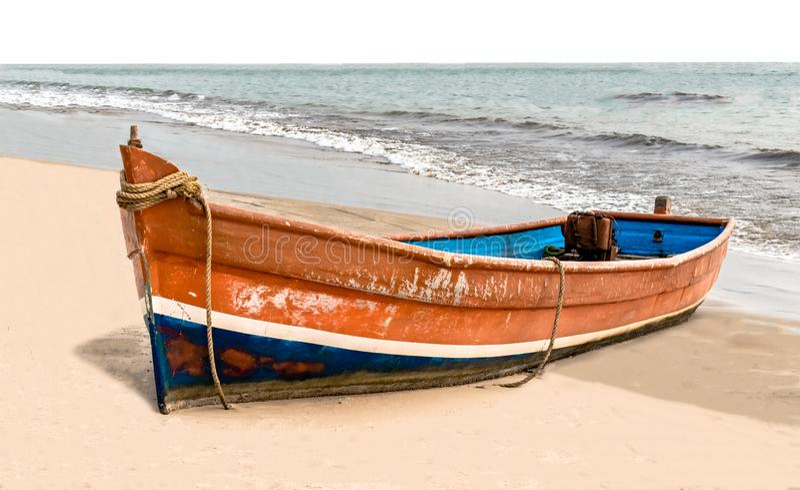 La bella canoa tirata, ha dipinto variopinto nei colori asiatici tradizionali, questa è alimentata dal generatore ed è usata dai  immagini stock libere da diritti