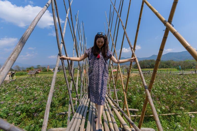 La bella donna asiatica ha il rilassamento e felicità con la festa nella provincia di Nan, Tailandia fotografie stock