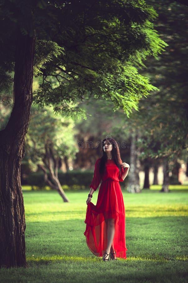 La bella donna castana in un vestito rosso sta camminando attraverso il giardino immagini stock libere da diritti
