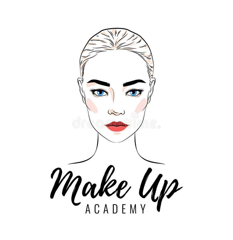 La bella donna, compone il logo della scuola o dell'accademia, l'insegna o la progettazione del manifesto royalty illustrazione gratis