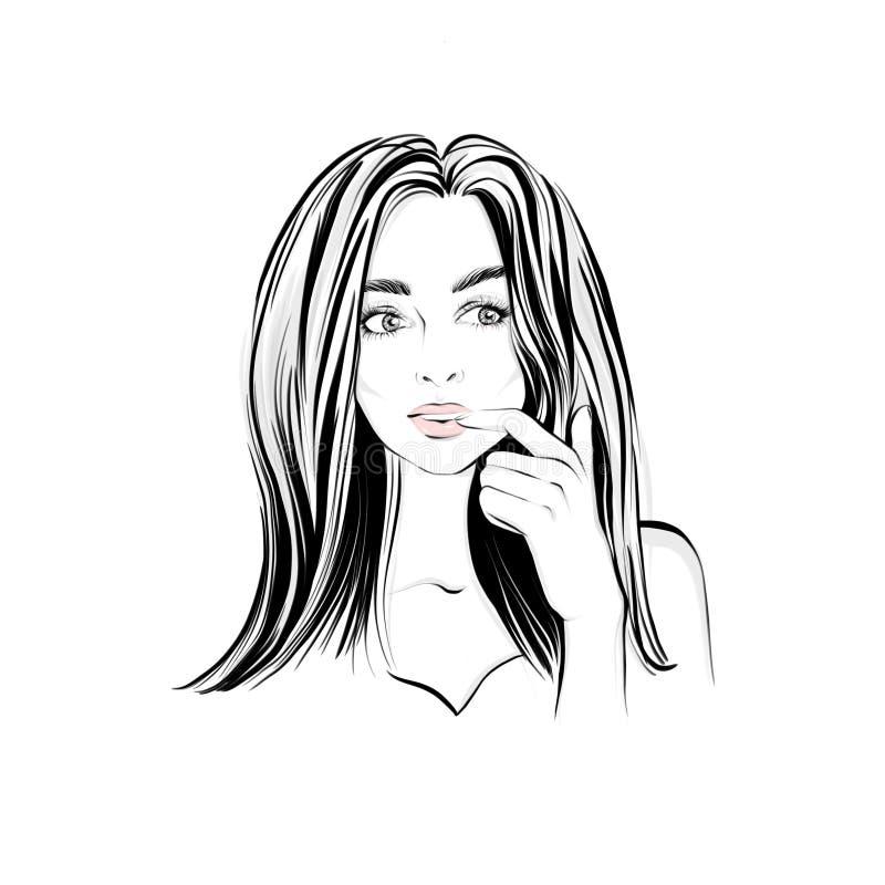 La bella donna con capelli scuri lunghi, guarda da parte con l'espressione pensierosa, ha imbarazzato femminile illustrazione di stock