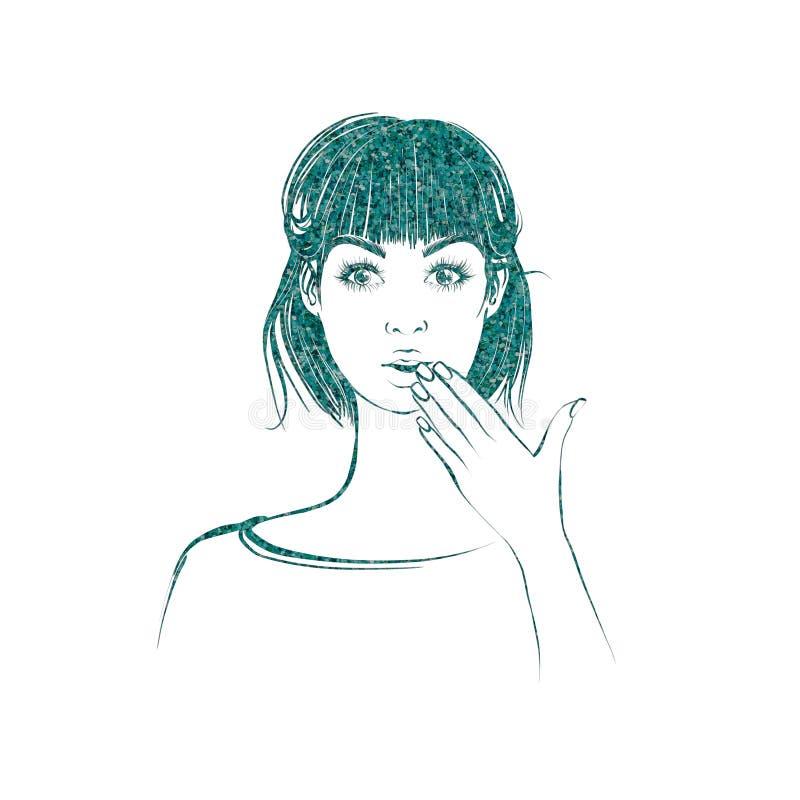 La bella donna con i capelli medi di lunghezza, guarda diritto con l'espressione sorpresa illustrazione vettoriale