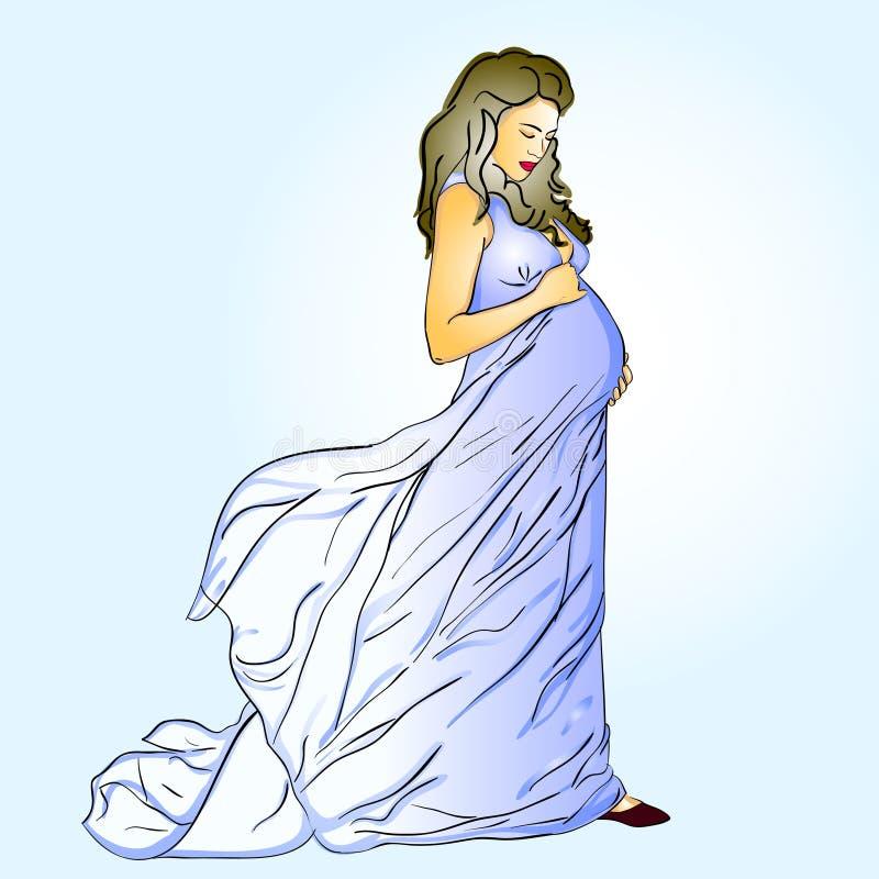 La bella donna incinta illustrazione di stock