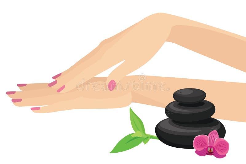 La bella donna passa la stazione termale commovente del manicure con gli elementi neri impilati di progettazione di vettore delle illustrazione vettoriale