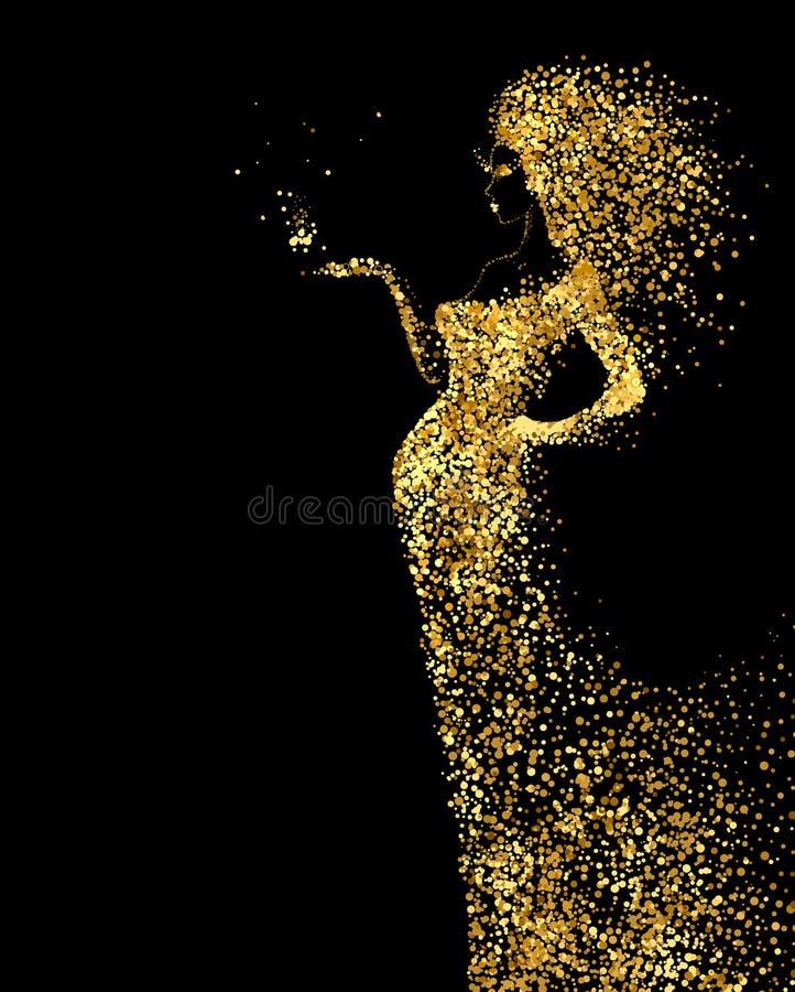 La bella figura dell'estratto della donna si è formata dalle particelle di colore dell'oro sui precedenti neri Insegna luminosa c royalty illustrazione gratis