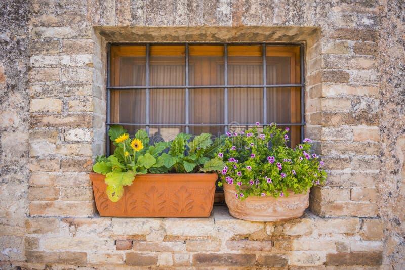 La bella finestra decorata con due vasi da fiori ed il metallo nero grattano fotografia stock libera da diritti