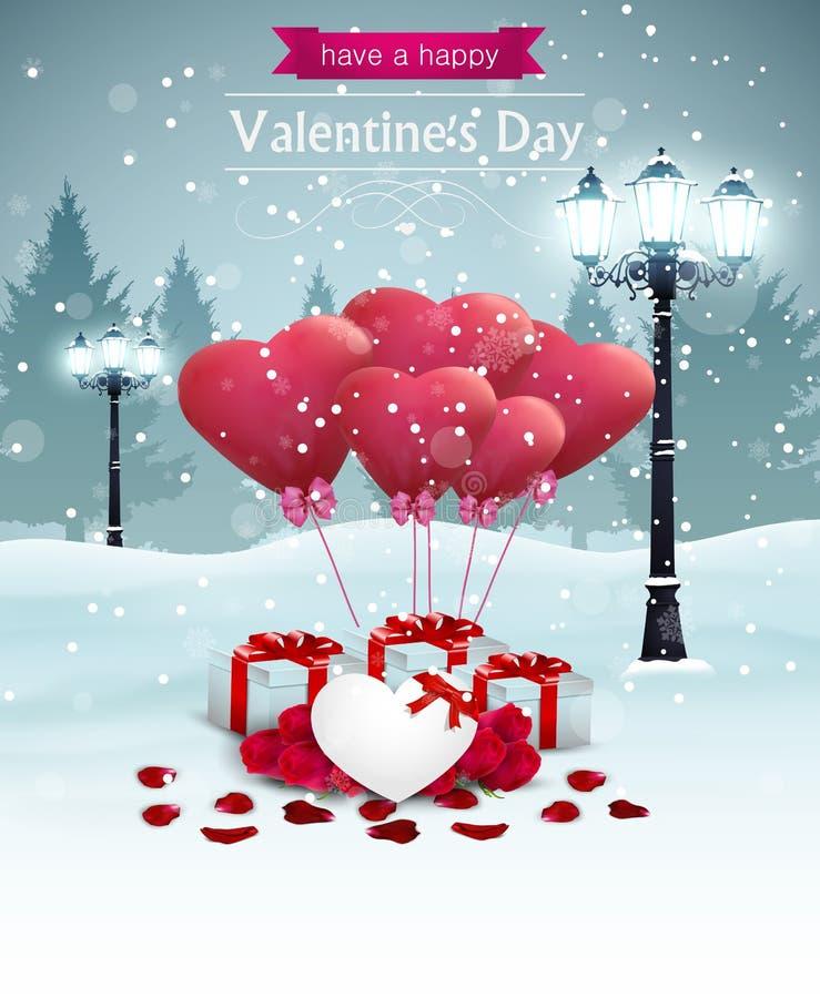 La bella forma del cuore delle iluminazioni pubbliche di larghezza della carta del giorno di biglietti di S. Valentino balloons illustrazione di stock