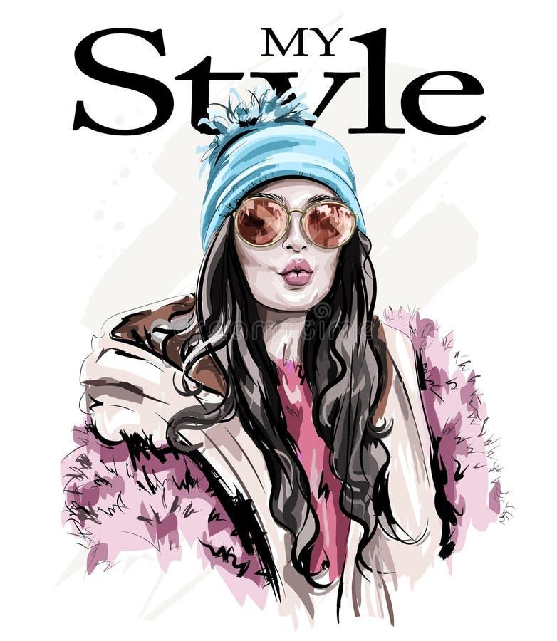 La bella giovane donna alla moda disegnata a mano dentro tricotta il cappello con il pompon Donna di modo in vestiti di inverno R illustrazione di stock