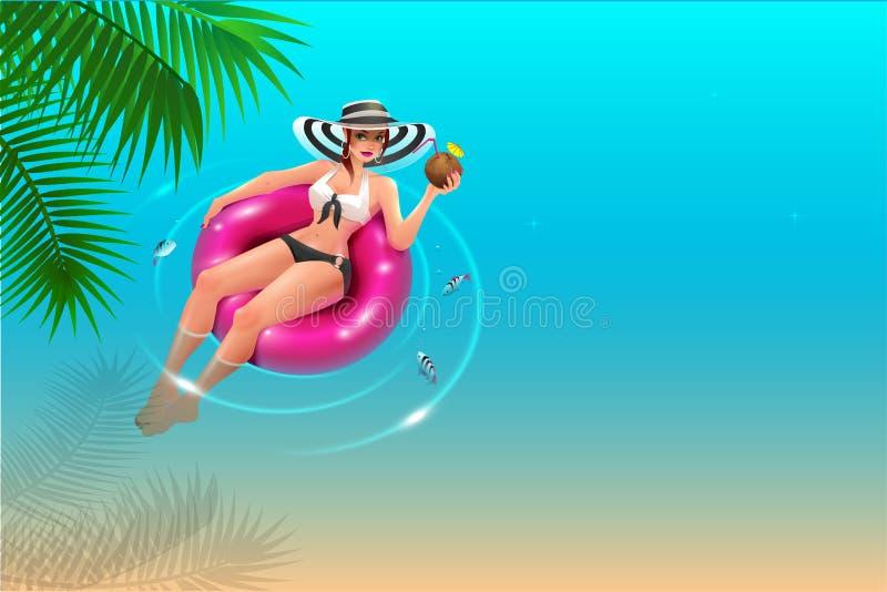 La bella giovane donna in cappello galleggia sul cerchio sull'acqua blu e beve il succo della noce di cocco Festa della spiaggia  illustrazione di stock