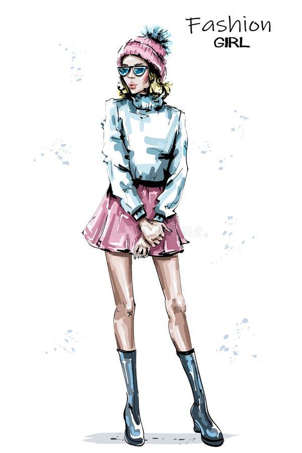 La bella giovane donna disegnata a mano dentro tricotta il cappuccio Ragazza elegante alla moda in gonna Sguardo di inverno della royalty illustrazione gratis