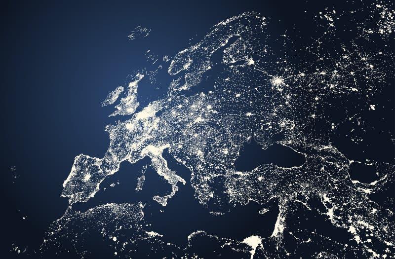 La bella illustrazione di vettore delle luci delle città di Europa traccia royalty illustrazione gratis