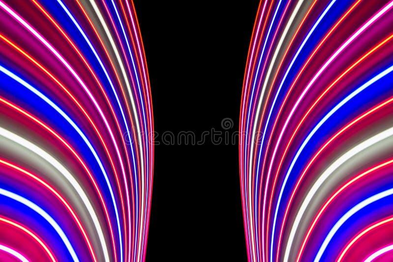 La bella luce ha offuscato le linee e le bande del fondo LED fotografia stock