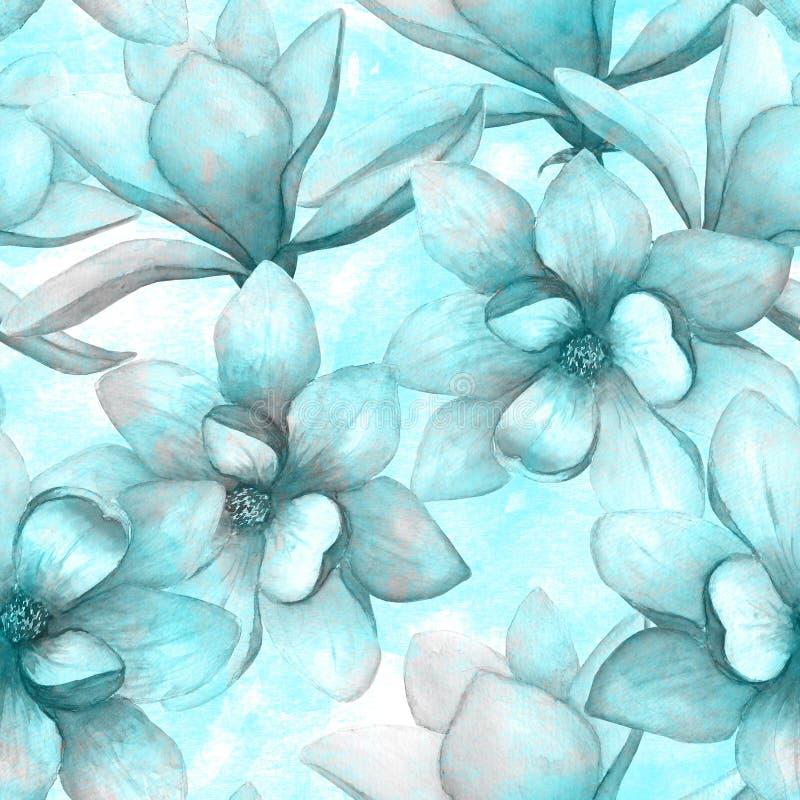 La bella magnolia dell'acquerello fiorisce il fondo senza cuciture del modello Illustrazione botanica elegante della molla acquer illustrazione di stock