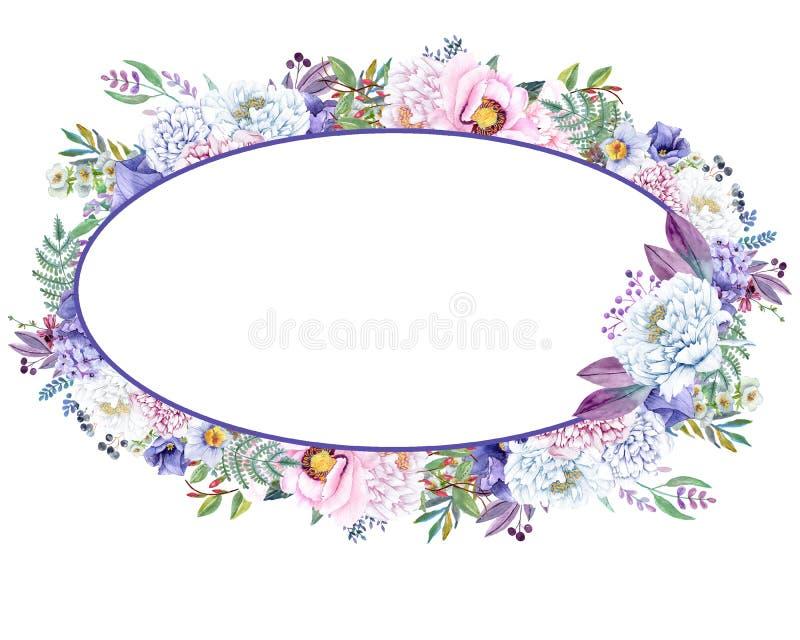 La bella menta dell'acquerello fiorisce la struttura Le nozze dell'oro della menta invitano il modello illustrazione vettoriale