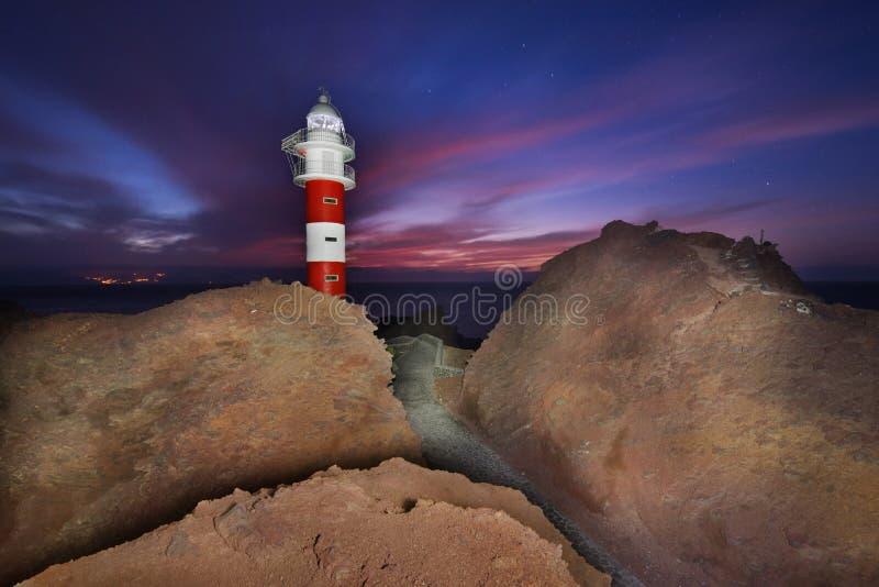 La bella notte ha sparato di un faro in Punta de Teno, Tenerife, l'Isole Canarie, Spagna fotografia stock libera da diritti
