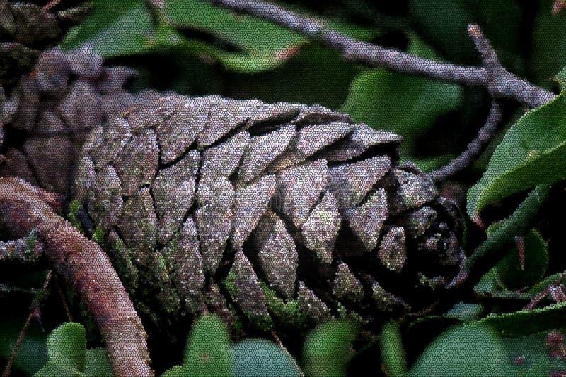 La bella pigna sulle foglie verdi si chiude su fotografie stock