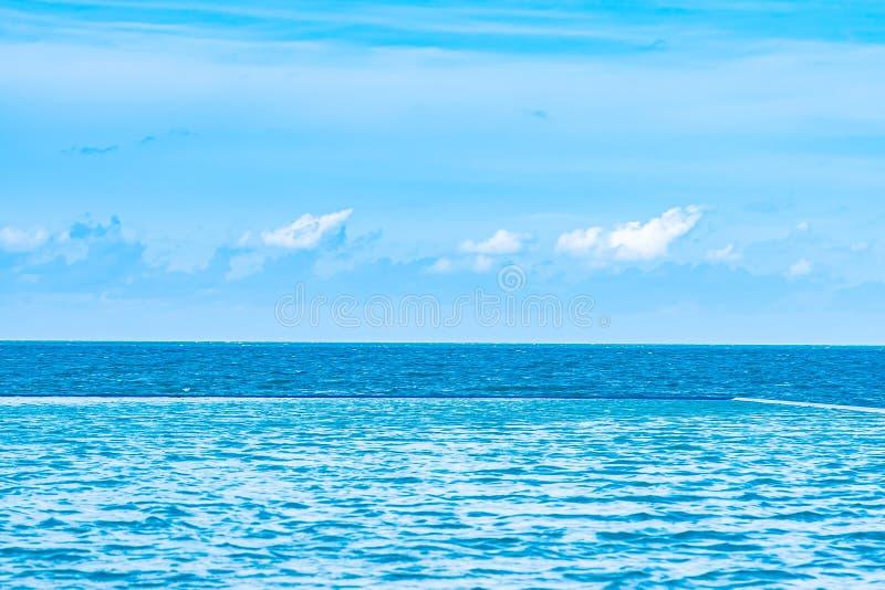 La bella piscina all'aperto nella località di soggiorno dell'hotel con la nuvola bianca ed il cielo blu per svago si rilassano immagini stock