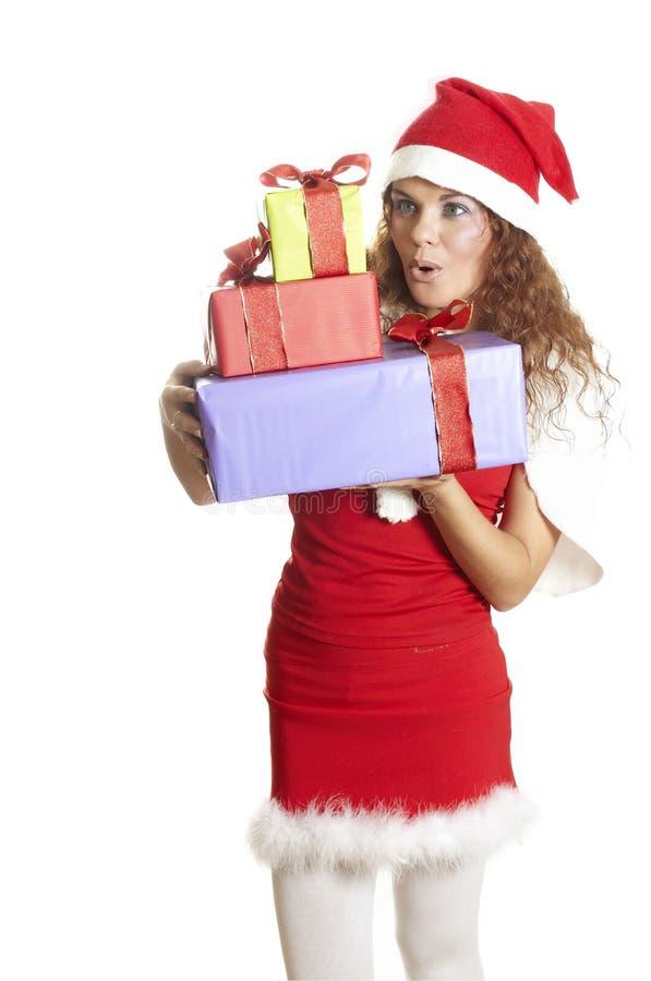 Download La Bella Ragazza è Sorpresa Ad Un Regalo Di Natale Immagine Stock - Immagine di ragazza, modo: 7307039