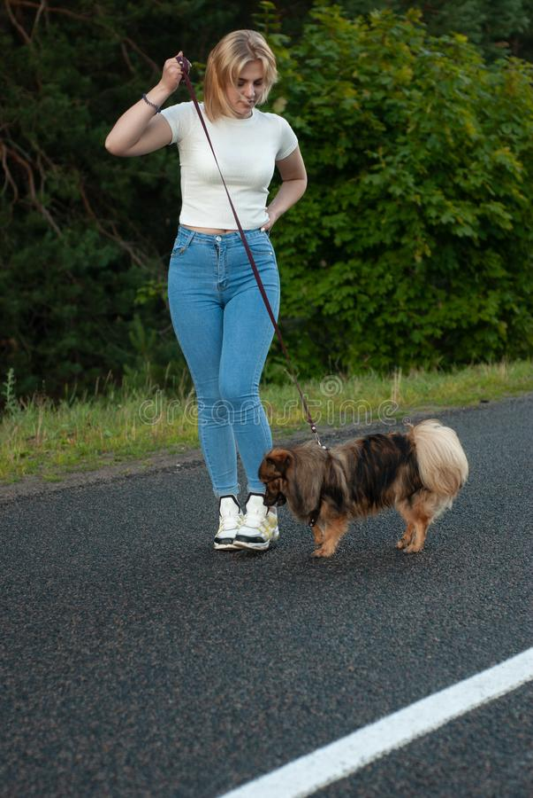 La bella ragazza bionda trascina il suo cane su un guinzaglio, immagini stock