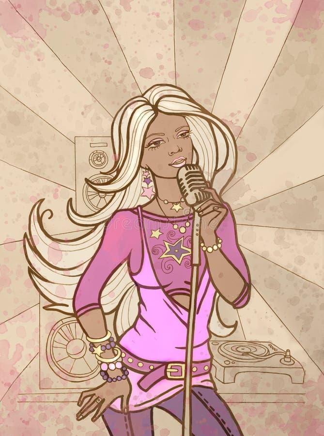 La bella ragazza canta illustrazione vettoriale