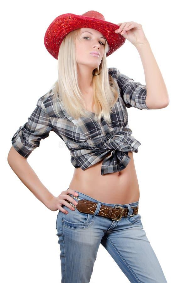 La bella ragazza in cappello del cowboy fotografia stock