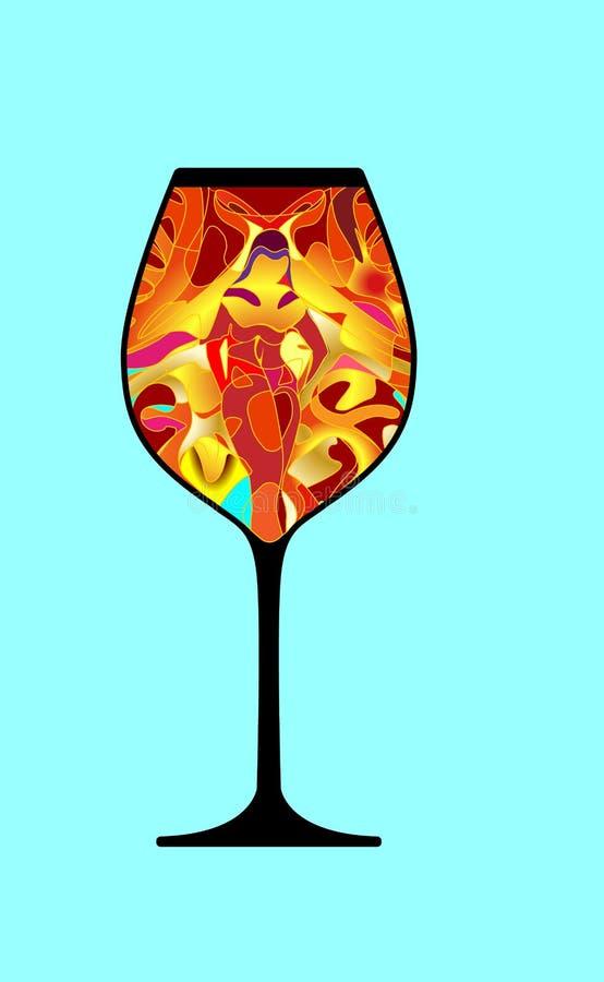 La bella ragazza compare in calice Vetro macchiato, bevanda del personaggio dei cartoni animati del mosaico Bello fondo isolato V illustrazione di stock