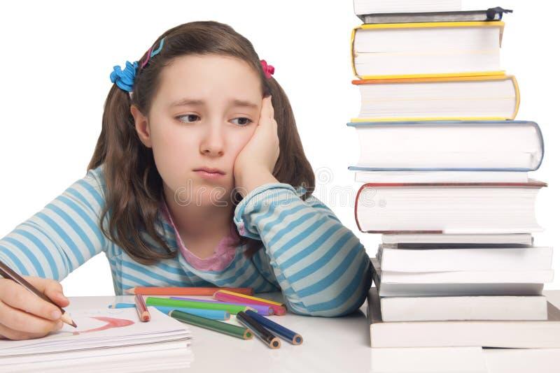 La Bella Ragazza Con Le Matite Ed I Libri Di Colore Si è Preoccupata Fotografie Stock