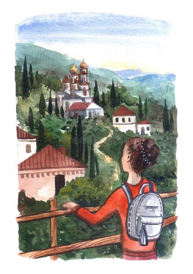 La bella ragazza disegnata a mano dell'illustrazione dell'acquerello guarda la a royalty illustrazione gratis