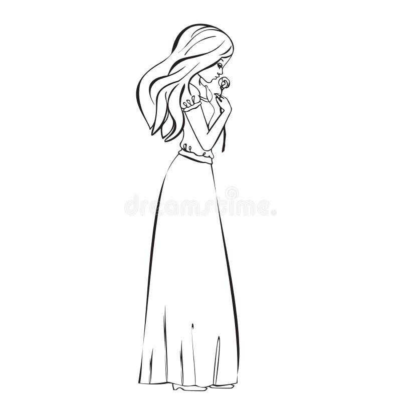 La bella ragazza romantica tiene una Rosa illustrazione di stock
