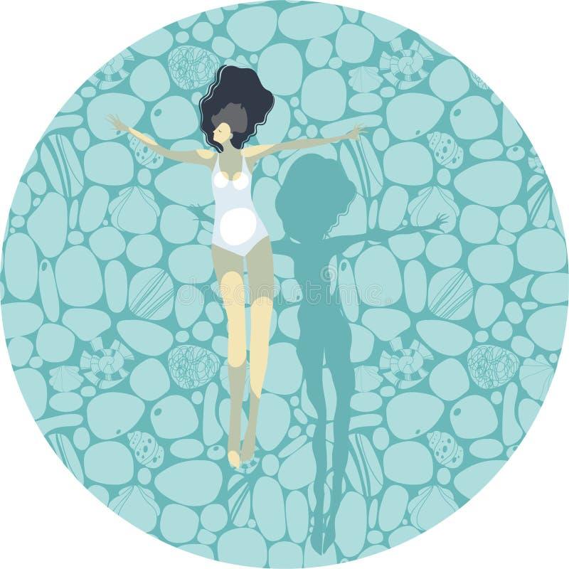 La bella ragazza si trova sull'acqua, illustrazione di stock