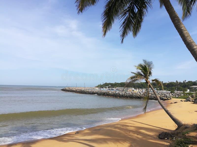 la bella spiaggia & vede nello Sri Lanka fotografia stock