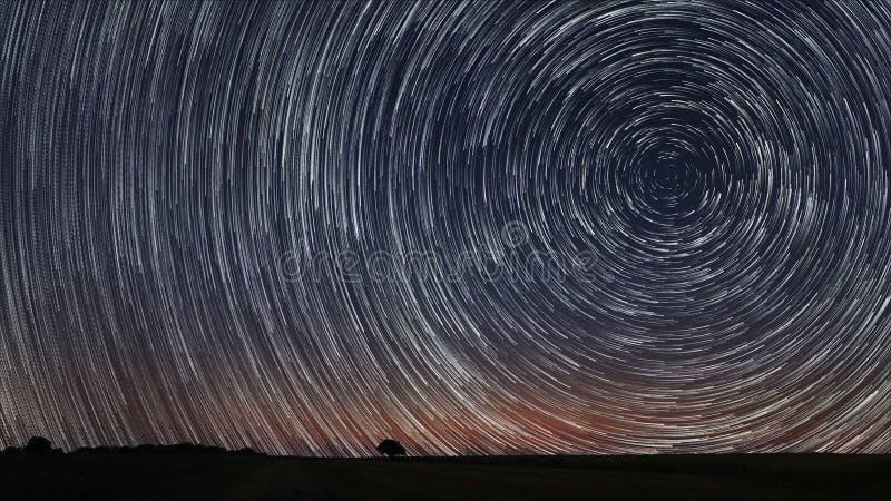 La belle étoile en spirale traîne plus de classé avec l'arbre isolé Beau ciel nocturne photo libre de droits