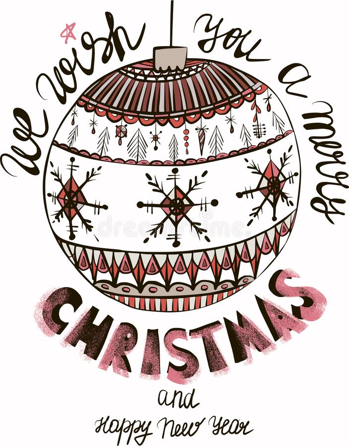 La belle belle année graphique artistique abstraite de vacances d'hiver nouvelle gribouille le vecteur de jouets d'arbre de Noël illustration de vecteur