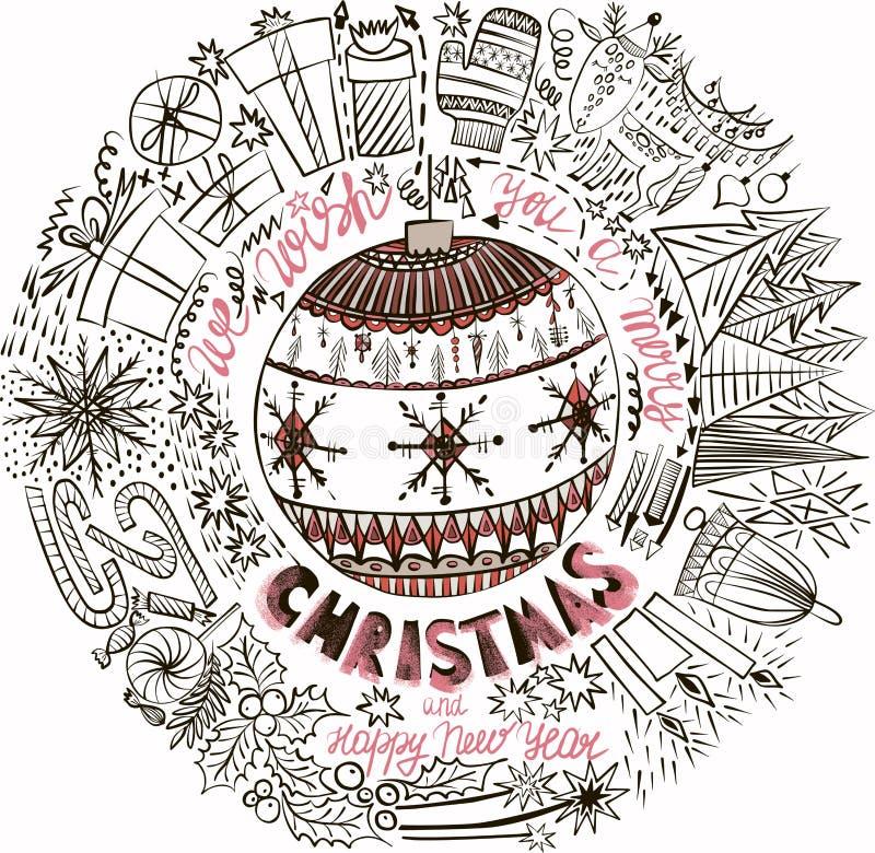 La belle belle année graphique artistique abstraite de vacances d'hiver nouvelle gribouille le vecteur de jouets d'arbre de Noël  illustration libre de droits