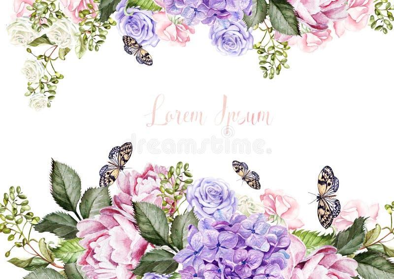 La belle carte de mariage, invitation avec le hudrangea, fleurs de pivoine et s'est levée illustration libre de droits