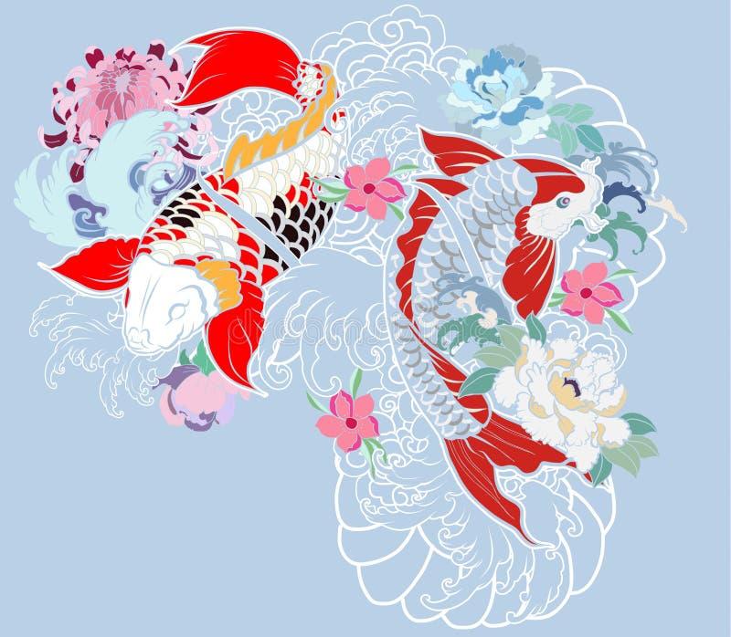 La belle, colorée carpe de Koi avec l'éclaboussure de l'eau, le lotus et la pivoine fleurissent illustration stock