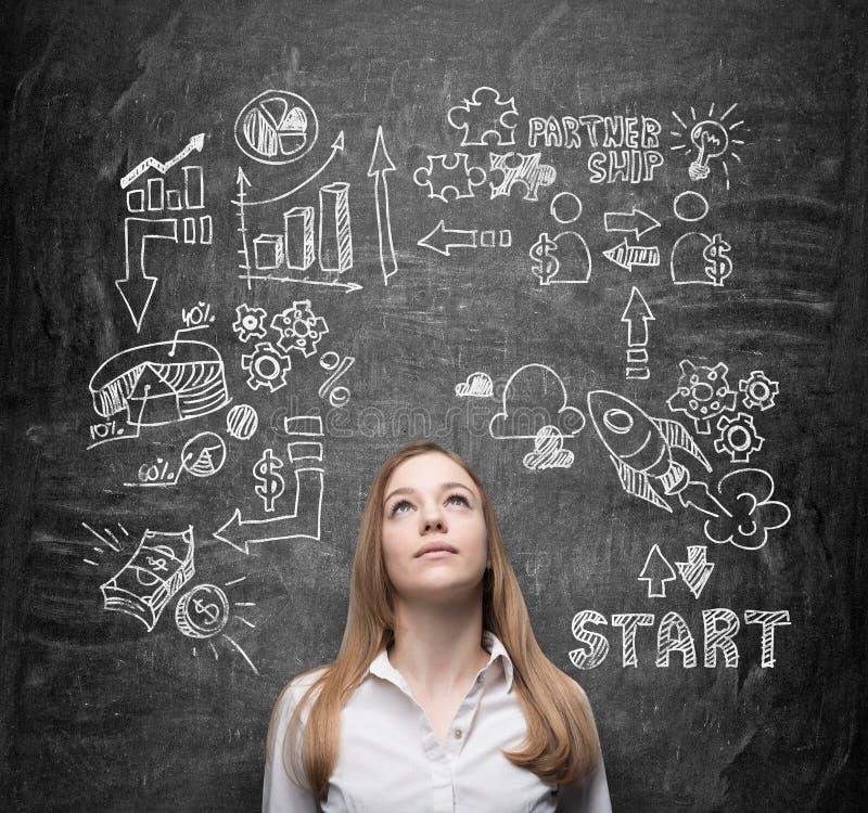 La belle dame pense aux opportunités commerciales Un concept d'échange d'idées Des icônes d'affaires sont dessinées derrière la p photographie stock libre de droits