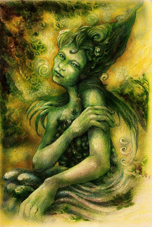 La belle eau magique elven la fée, dessin coloré illustration libre de droits