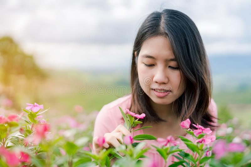 La belle femme asiatique utilisant une chemise rose souriant heureusement dans le jardin d'agrément rose derrière est un Mountain images stock