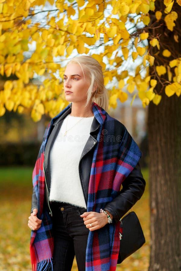 La belle femme blonde élégante se tenant sous le jaune laisse l'arbre d'automne photos stock