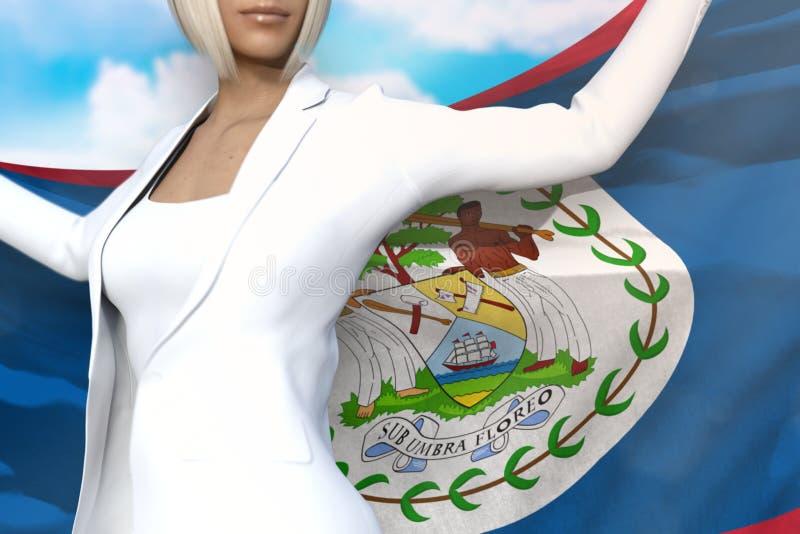 La belle femme d'affaires tient le drapeau de Belize dans des mains derrière son dos sur le fond de ciel bleu - illustration du c illustration stock