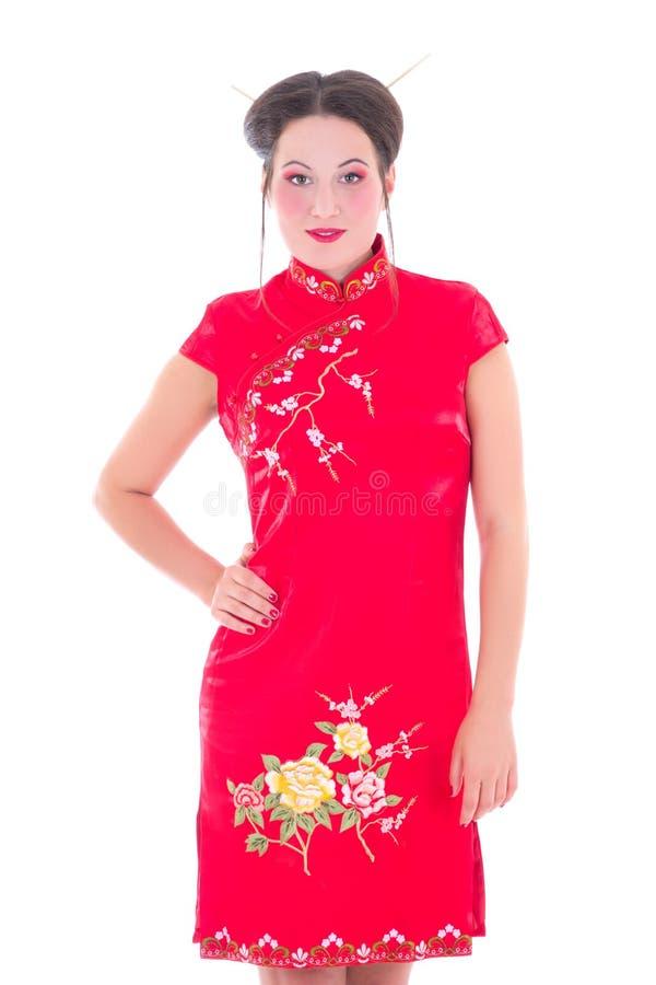 La belle femme dans le Japonais s'habillent d'isolement sur le blanc photos stock