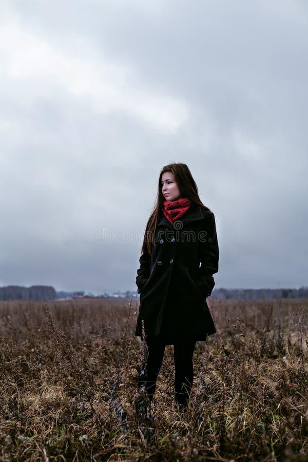 La belle femme dans le manteau noir et l'écharpe rouge se tenant en automne froid mettent en place photos stock