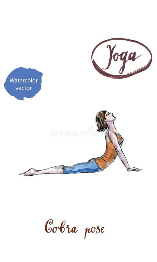 La belle femme sportive de yogini d'ajustement pratique des bhujangas d'asana de yoga illustration libre de droits