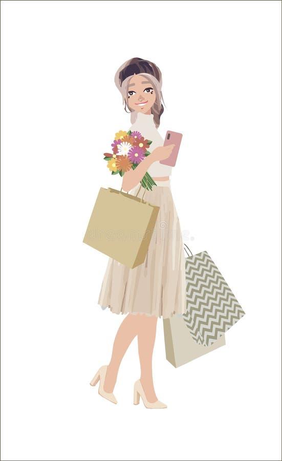 La belle femme vont faire des emplettes avec des sacs et bonheur se sentant sur le fond blanc Personnage féminin mignon de bande  illustration stock