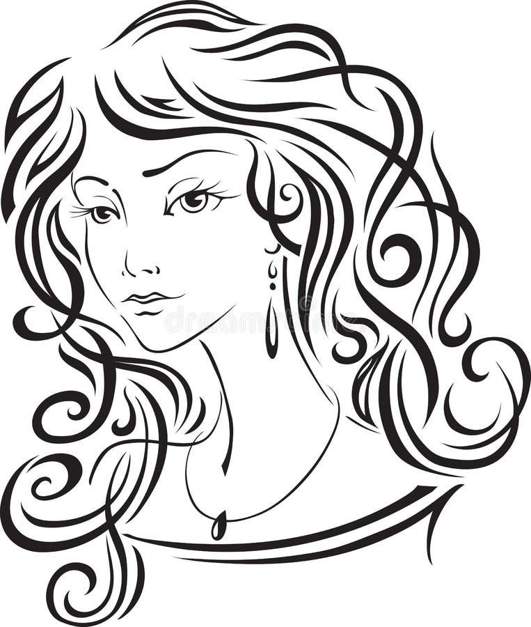 La belle fille avec le long cheveu image stock