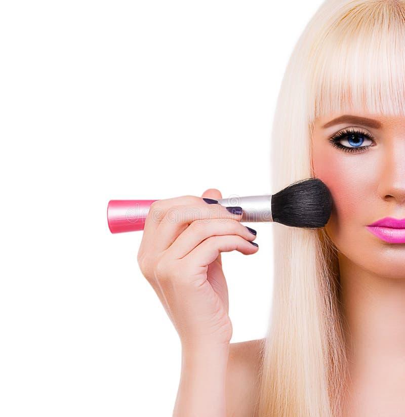 La belle fille blonde avec parfait composent photographie stock libre de droits