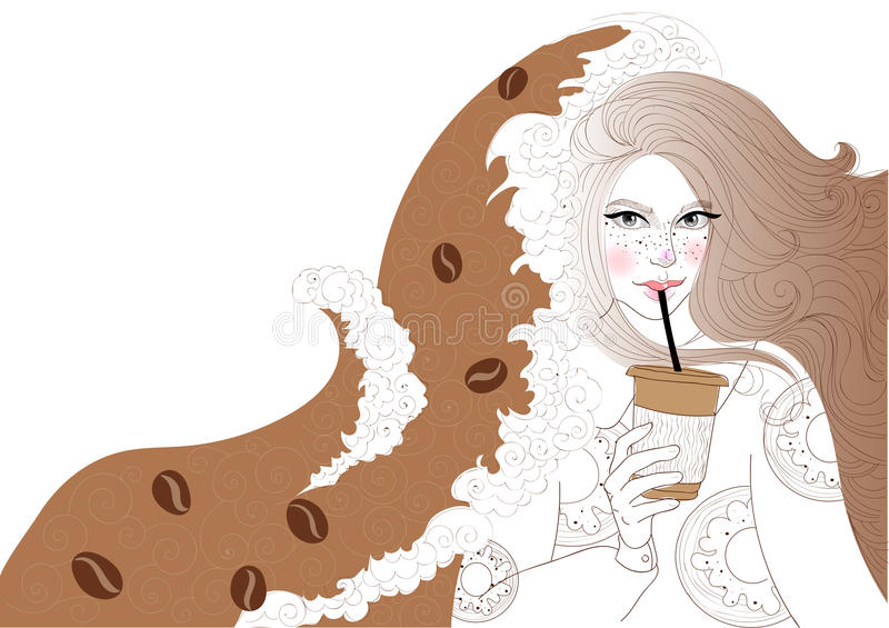 La belle fille boit du café illustration de vecteur