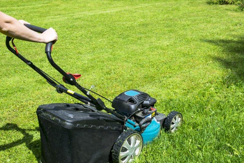 La belle fille coupe la pelouse Pelouses de fauchage Tondeuse à gazon sur l'herbe verte Équipement d'herbe de faucheuse Outil de  photos libres de droits