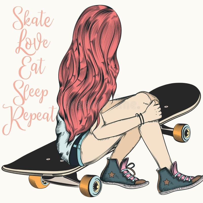 La belle fille d'adolescent avec les cheveux roses s'asseyent sur une planche à roulettes Ennui illustration de vecteur